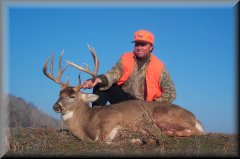 Kansas buck shot with Wolfriver Outfitters.